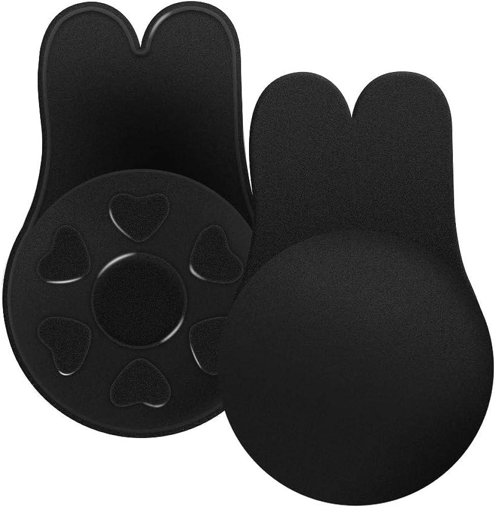 Adhesive Bra Invisible Bra,Breast Lift Tape Reusable Breast Pasties Nippleless Covers Rabbit Ear Black