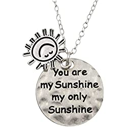 """Silver Tone """"You Are My Sunshine My Only Sunshine"""" Charm Necklace Fashion Jewelry Gift"""