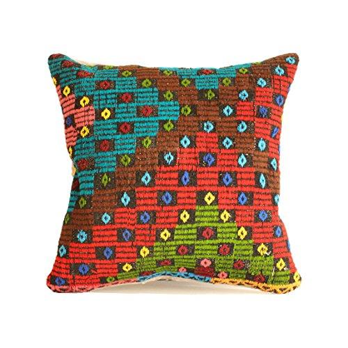 Kilim pillow, 24x24 kilim pillow cover, Turkish Pillow Suzani Pillow Moroccan Pillow Bohemian Pillow Kilim Cushion Large Pillow Floor Cushion Bohemian Pillow Big Pillow, Pouf c465 ()
