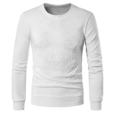 5b22851a78fbb Pull Homme Garçon Col rond Uni Manches longues Tops Sweat-shirt Haut T- shirts Vêtements de sport Tops Casual Chaud et Respirant Hiver Homme Hauts  Veste ...