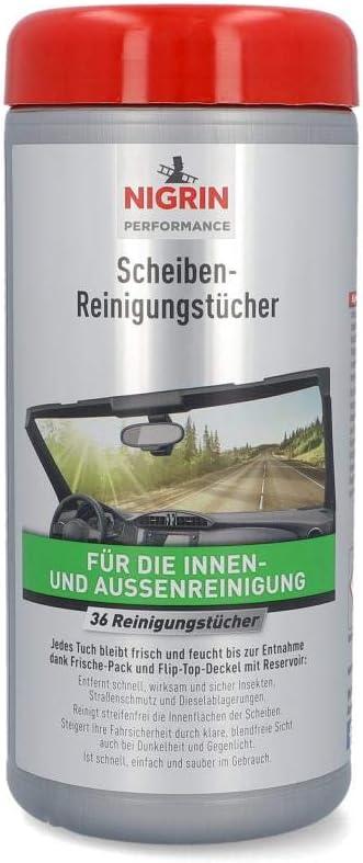 Nigrin Scheiben Reinigungs Tücher Feuchte Tücher Für Innen Und Außenreinigung Entfernt Insekten Straßenschmutz 36 Stück Auto