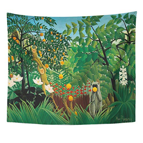 Henri Rousseau Artwork - Semtomn Tapestry Artwork Wall Hanging Jungle Henri Rousseau Exotic Paintings Monkeys 50x60 Inches Tapestries Mattress Tablecloth Curtain Home Decor Print