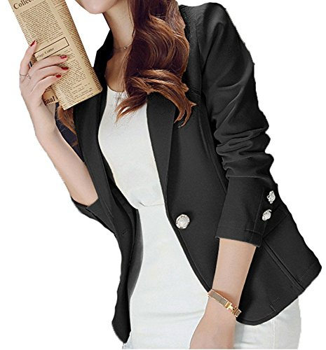 MIKTY Casual Work Office Blazer One Button Jacket for Women and Petites #3 Black US 2-4