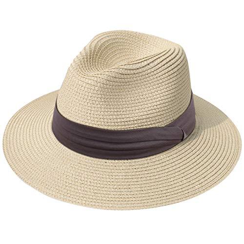 (Lanzom Women Wide Brim Straw Panama Roll up Hat Fedora Beach Sun Hat UPF50+ (Z-Light Coffee Ribbon Khaki))