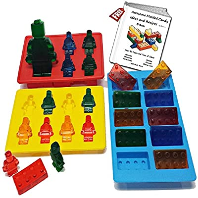 Everything Is AWESOME!!! Silicone Candy Mold Set for Lego Fans (Set of 3) ~ with Bonus eBook