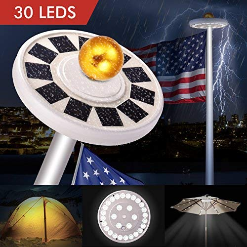 30 LED Solar Flag lights Flagpole Pole Lights Solar Powered Super Bright IP65 Waterproof, Bonega 30 LED Solar Flag Pole Lights Outdoor Dusk to Dawn for Most 15Ft 16ft 20Ft 25Ft Auto On/Off Night Light