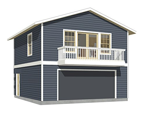 Garage Plans: Two Car, Two Story Garage With Apartment and Balcony - Plan 1107-1bapt