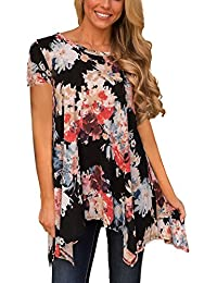 Women Plus Size Sleeve Tunic Tops Loose Floral Print Shirt