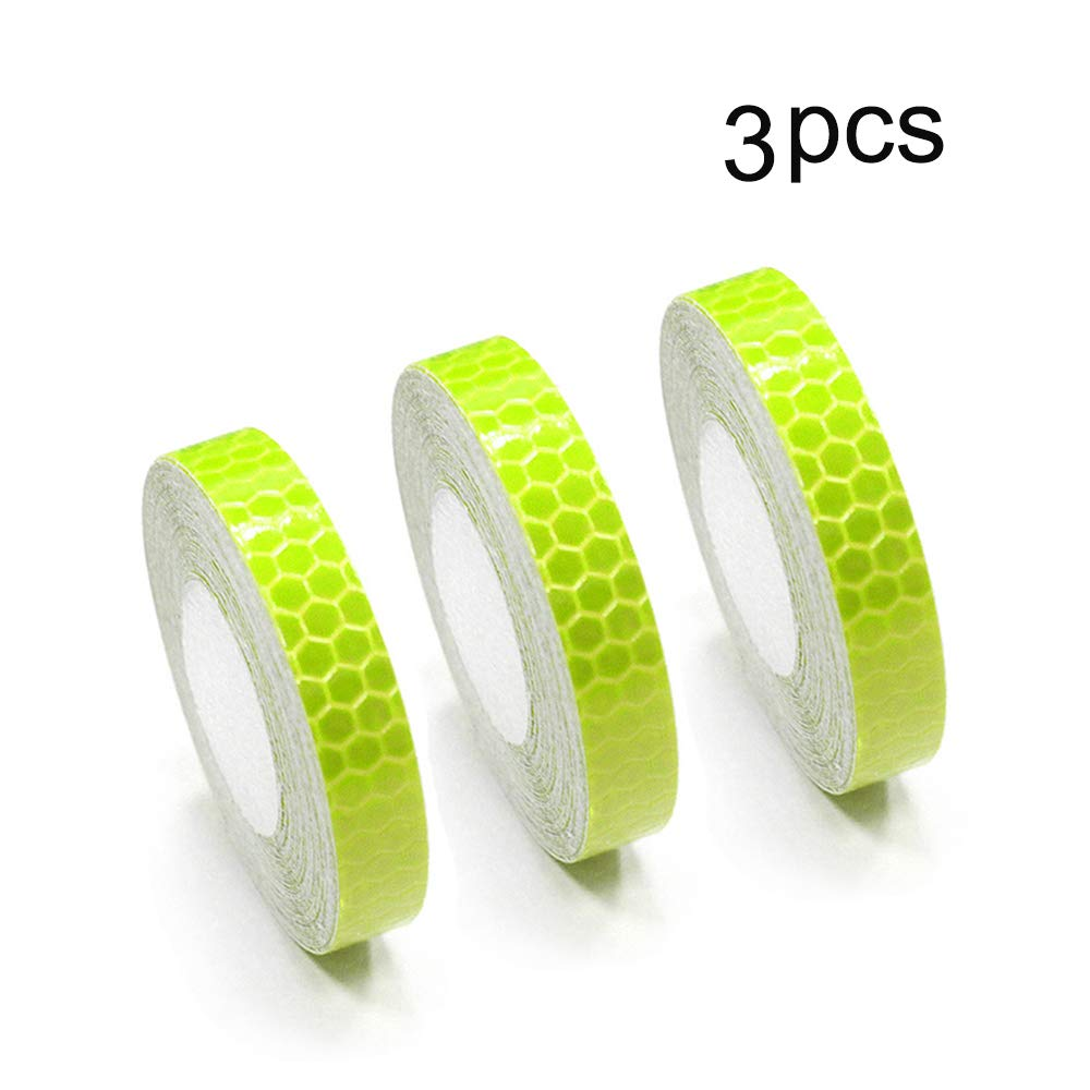 Waterproof Self-Adhesive Tape-Reflective Tape For Trucks Trailers Car Park Traffic Warning Caution Conspicuity Tape Reflective Tape 0.4″X16.4′ Fluorescent Green 3 Pcs