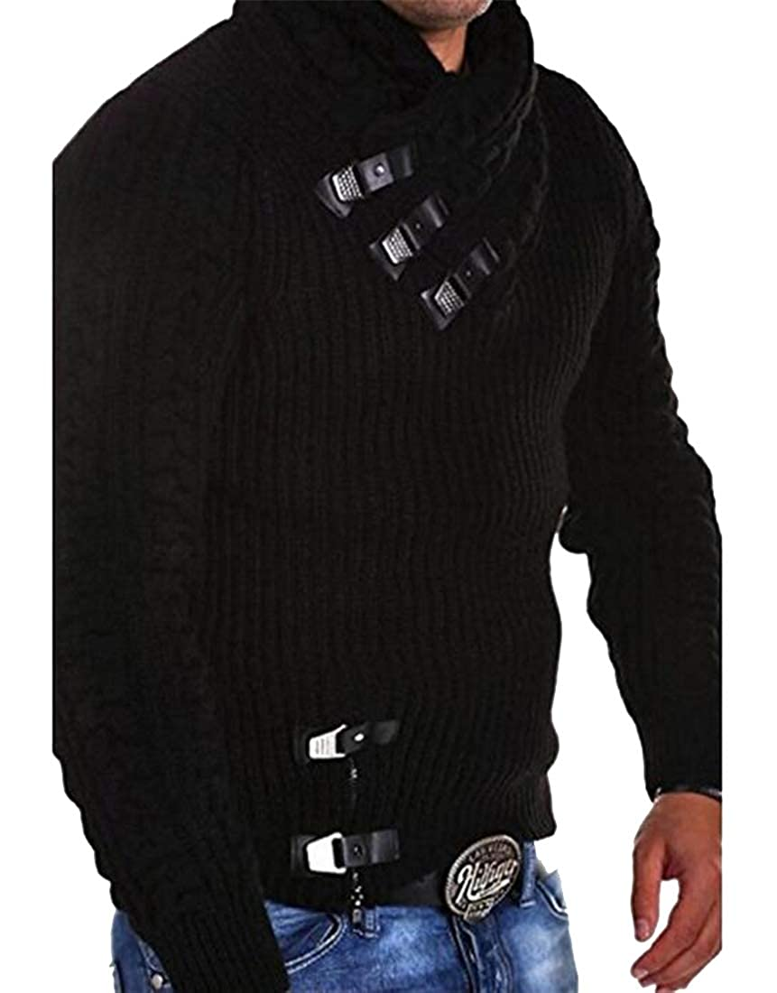 OTW Men Fashion Cable Knit Long Sleeve Slim Fit Turtleneck Pullover Sweater