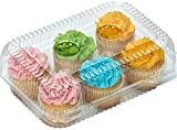 6 compartment Clear Cupcake Muffin Containers with Hinged Lid - 12 Containers Great for standard size cupcakes and muffins