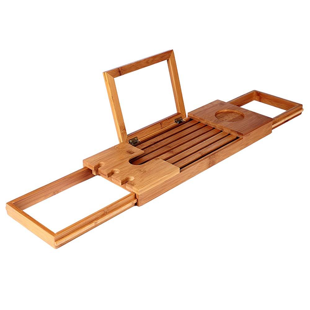 Bamboo Bathtub Caddy Tray Adjustable Bath Tub Shelf Mobile Tablet Rack Retractable Multi-Function Bathroom Bathtub Frame Shelf