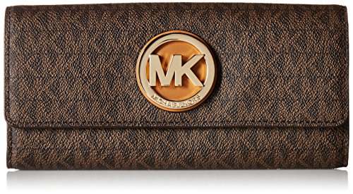 Michael Kors PVC Leather Fulton Flap Continental Wallet - Brown - - Online Kors Michael Usa
