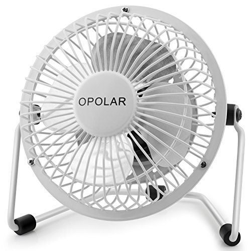 (OPOLAR Mini USB Desk Fan, Portable Super Quiet, Metal Design, 4 Inch Cooling Fan for Home, Office, White)