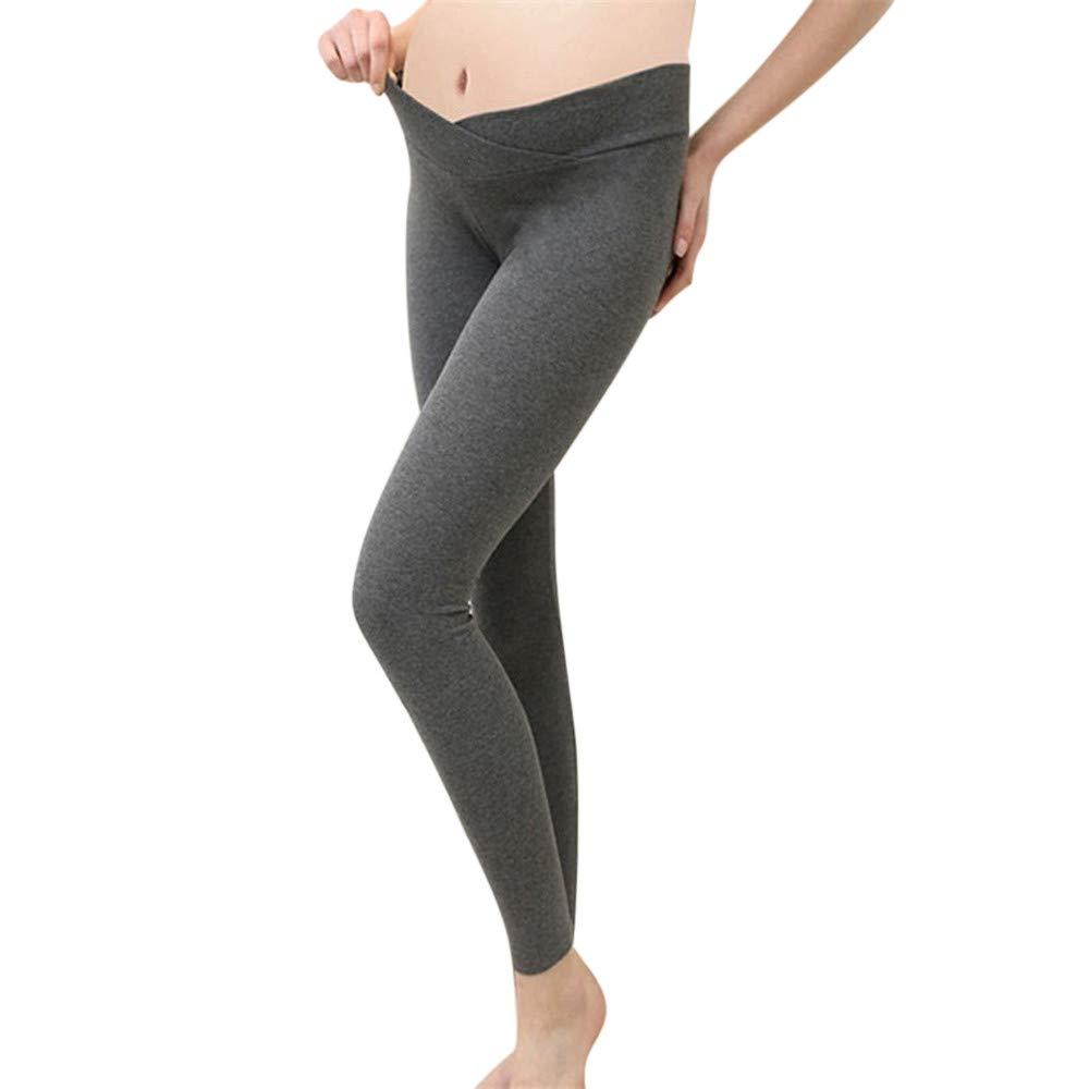 Leoy88 Fashion Women Solid Maternity Pregnancy Pants Velvet Trousers Stretch Leggings