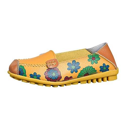 Yudesun Sandalias Guisantes Bailarinas Casuales - Mocasines Zapatos Mujer Planos Suave Ballet con Estampado Floral Hueco Bombas Zapatos de Conducción ...