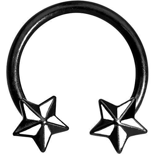 Body Candy 14 Gauge Black White Nautical Star Horseshoe Circular Barbell 9/16
