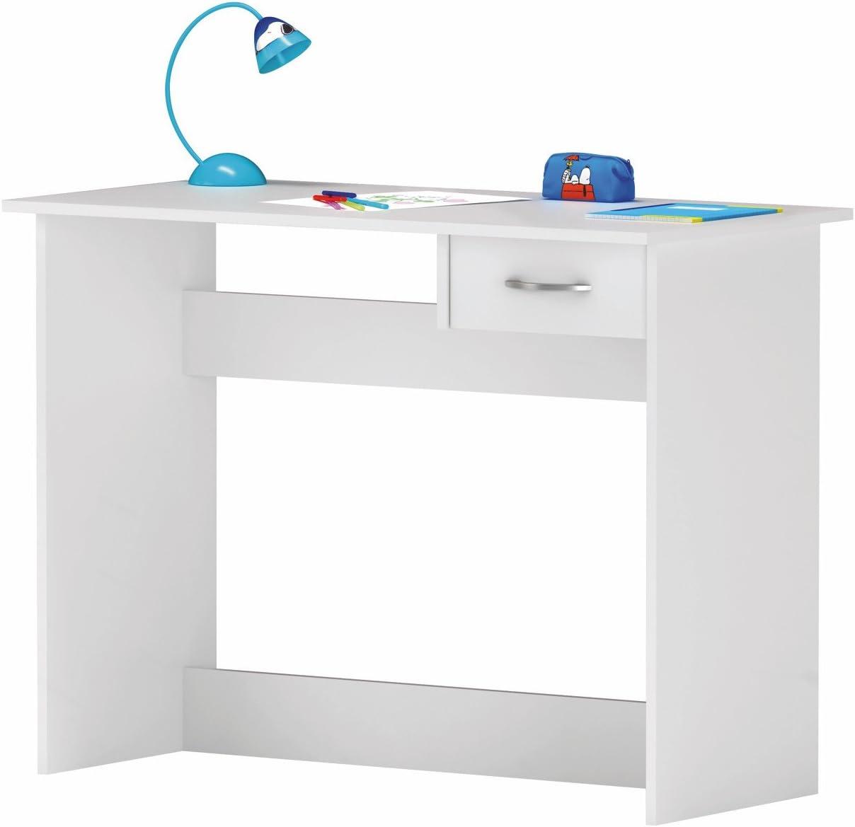 Escritorio Mesa de Estudio Juvenil 100 cm. Blanco. para Ordenador ...