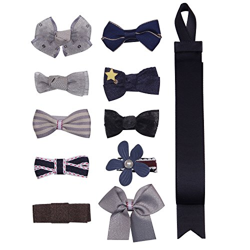 BonnyGirl Boutique Baby Girls Toddler Hair Bow Clips Barrettes with Hair Bows Holder (Gray)