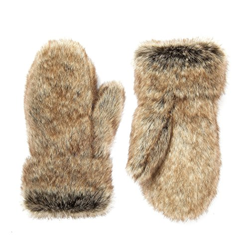 Futrzane Winter Gloves Women Men Mittens Made Of Rabbit Faux Fur (Grey with Brown)