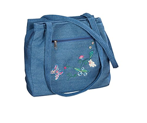 Three Section Embroidered Denim Handbag