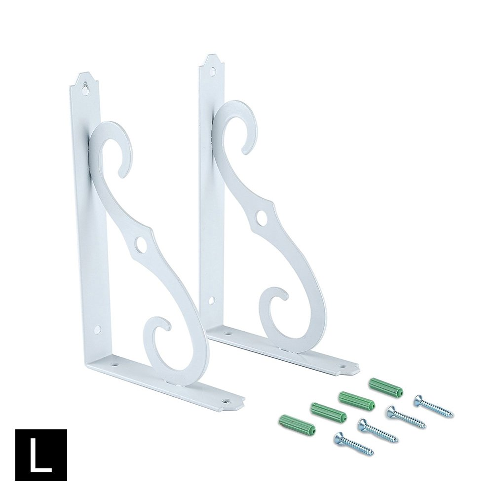 Myonly Iron Wall Brackets Shelf Shelves Support, Small Metal Corner Shelves Decorative for Bathroom Kitchen Bookrack Calpboard (S, Blcak)