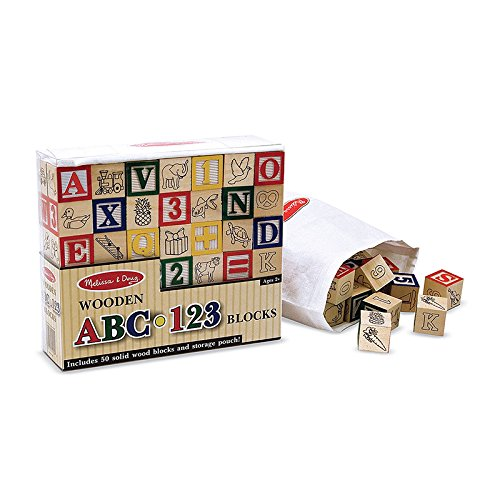 MELISSA & DOUG WOODEN ABC/123 BLOCKS (Set of 6) by Melissa & Doug