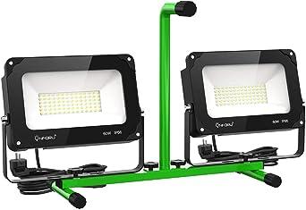 Construction 2M Fil Inclus Spot de Chantier 13000LM 5000K IP66 Imperm/éable Onforu 120W Double Projecteur de Chantier LED /Éclairage Travaux pour Atelier Lampe Travaux Orientable Bricolage