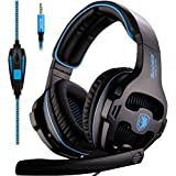 [New Updated] Sades SA810 Gaming Headset Single 3.5mm Jack Over Ear Gamer Headphones with Microphone and PC Adapter for New Xbox One/PS4/PlayStation 4 Laptop Phone-Black Blue
