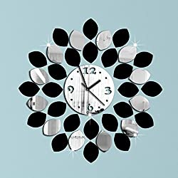 Alrens_DIY(TM)36pcs Big Leaf Black and Silver Art Modern Design DIY Acrylic Silent Non-ticking Quartz Clock Watch Removable 3D Mirror Wall Clock Wall Sticker Home Decor Living Room Bedroom Decoration