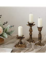 """Candle Holders, Candlestick Set of 3 for Home Decor, Fits 3/4 inch Thick Candle & Led Candles, Internal Diameter 0.87"""", Vintage Retro, Aging Treatment Design, DeHEVEO"""