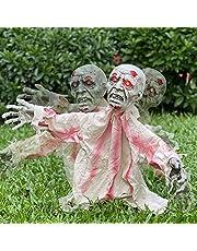 Kacwsoay خارجي هالوين ديكورات مخيفة زومبي جراوند ديكور، تأثير صوت متحرك مخيف مخيف ودعامة تعمل بالحركة لحفلة هالوين بيت مسكون في الحديقة