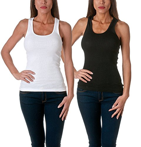 Sofra Women's Tank Top Cotton Ribbed 2 Pack Deal(Black/White-M) (top deals)