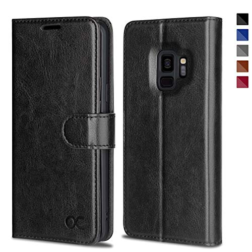 OCASE Samsung Galaxy S9 Case Leather Flip Wallet Case for Samsung Galaxy S9 Devices (Black)