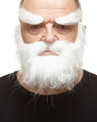 Realistic Traper white fake beard, mustache and eyebrows, self adhesive
