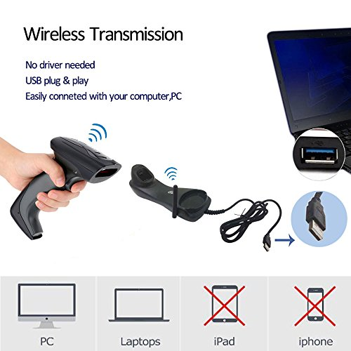 NADAMOO Wireless Barcode Scanner with USB Cradle Receiver Charging Base 433MHz Handheld 1D Cordless Laser Barcode Reader Portable Bar Code Scanning for Retail Supermaket Warehouse by NADAMOO (Image #1)