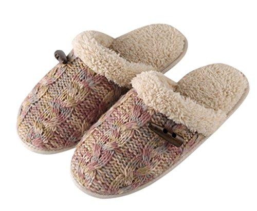 Cattior Dames Bont Gevoerde Wollen Pantoffels Dames Pantoffels Paars