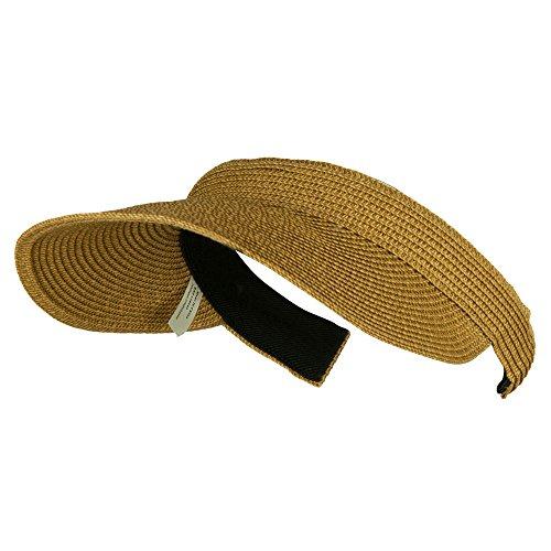 UPF 50+ Paper Braid Clip On Visor - Toast Brown OSFM
