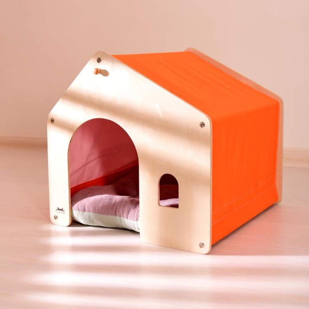 orange Small orange Small Small Dog Kennel Deep Sleep Cat Room Removable And Washable Pet Room Indoor House Thick Warm, Four colors Optional SMBYLL (color   orange, Size   S)