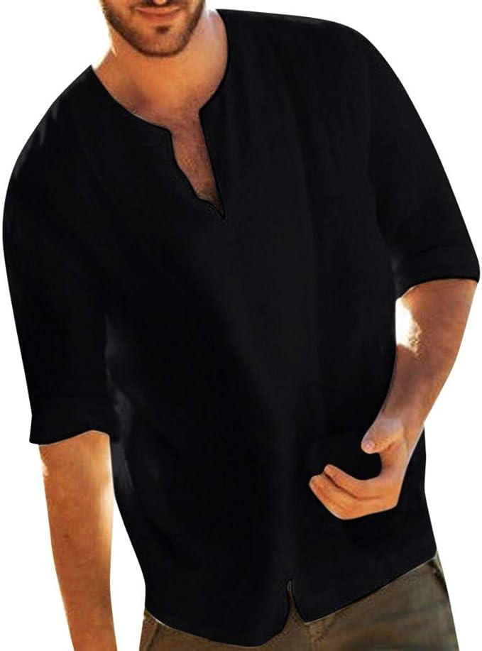 Amazon.com: Camiseta de manga 3/4 para hombre, de lino ...