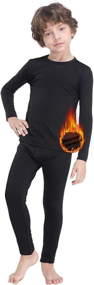 MANCYFIT Thermal Underwear for Boys Fleece Lined Long Johns Set Kids Base Layer Ultra Soft