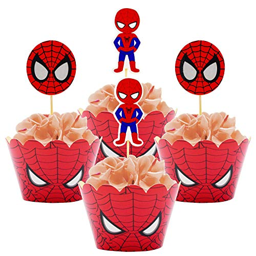 Betop House Spiderman Super Heros Themed Boys 1st Birthday Party Kids Gathering Baby Shower Housewarming Halloween Decorative Wrappers and Toppers Kit -