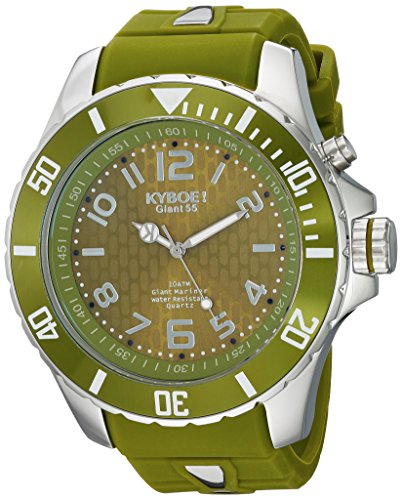 KYBOE! 'Power' Quartz Stainless Steel and Silicone Casual Watch, Color:Green (Model: SC.55-004.15)