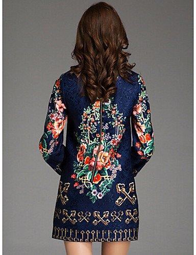 PU&PU Robe Aux femmes Ample Simple,Fleur Col Arrondi Au dessus du genou Polyester , blue-3xl , blue-3xl