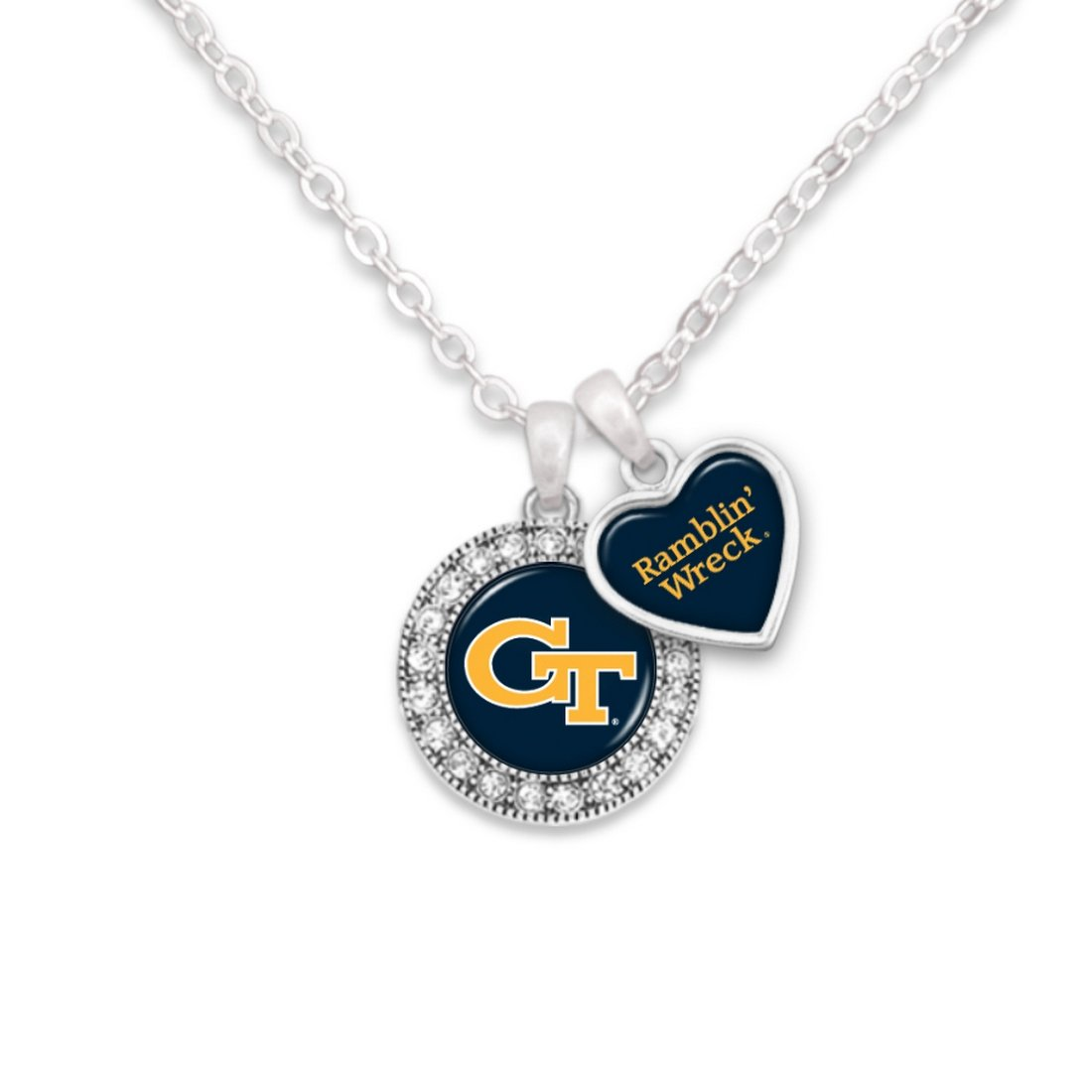 FTH Georgia Tech Yellow Jackets Logo and a Heart Shaped Charm Necklace Featuring Team Slogan