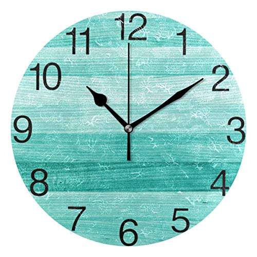senya Teal Turquoise Green Wood Round Wall Clock, Silent Non Ticking Oil Painting Decorative for Home Office School Clock Art (Clock Wall Turquoise)