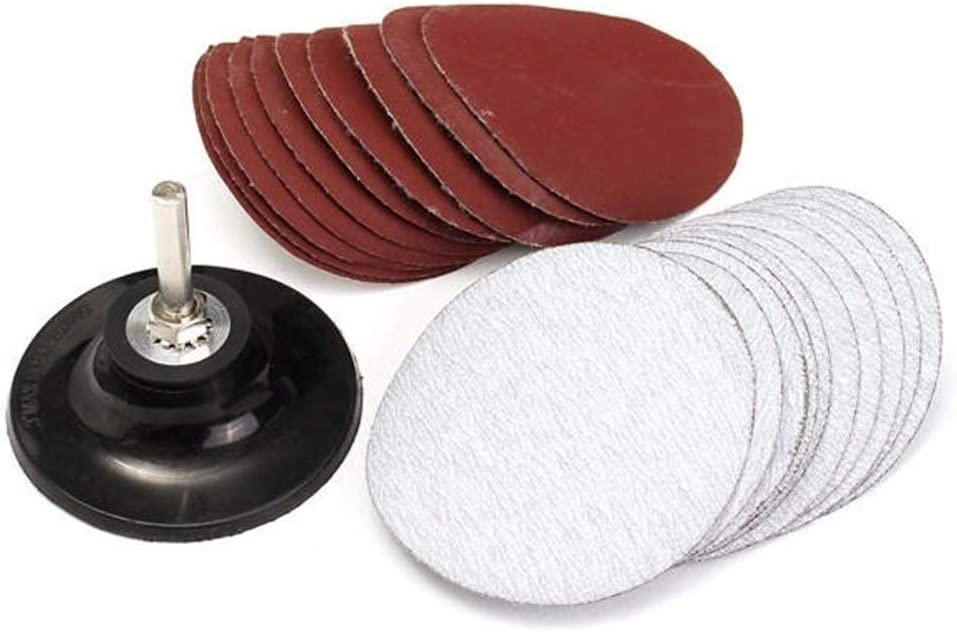 CHUNSHENN Durable 3 Inch Hook and Loop Sanding Pad with Drill Adapter And 20pcs Sand Paper Abrasive Accessories