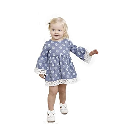 DEESEE(TM) Baby Girls Lace Floral Print Long Sleeve Princess Casual Dress