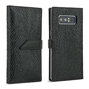 Galaxy Note 8 Case, DesignSkin [WALLET PLUS]: 2 in 1 Set Folio Flip Cover Case With Removable Card Holder Snap Closure 100% handmade Genuine Leather Unique Protective Cash Pocket Slot Storage (Black)