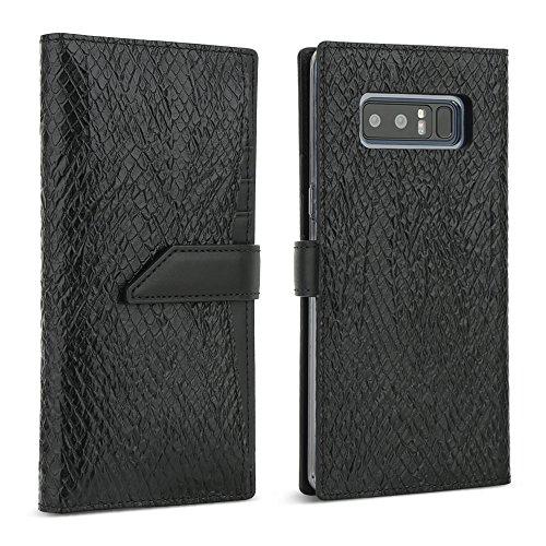 Galaxy Note 8 Case, DesignSkin [WALLET PLUS]: 2 in 1 Set Folio Flip Cover Case With Removable Card Holder Snap Closure 100% handmade Genuine Leather Unique Protective Cash Pocket Slot Storage (Black) by DesignSkin (Image #7)